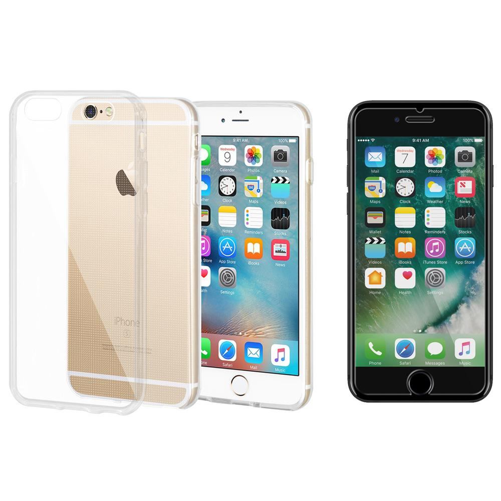 Combo Pack for 1 Anti-Scratch Tempered Glass, 1 Shockproof TPU Skin Case for iPhone 6 - Clear