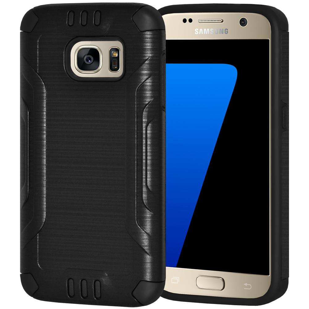 Hybrid Shockproof Cover Brushed Design Dual Layer Case for Samsung GALAXY S7 SM-G930F - Black/Black