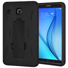 Load image into Gallery viewer, Hybrid Armor Shockproof Kickstand Case for Samsung Galaxy Tab E 8.0 SM-T377P - Black/Black