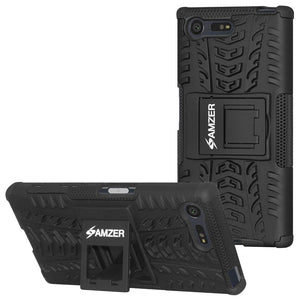 AMZER Shockproof Warrior Hybrid Case for Sony Xperia X Compact- Black/Black