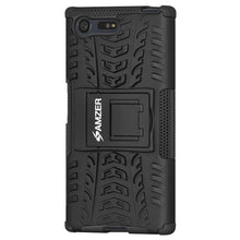 Load image into Gallery viewer, AMZER Shockproof Warrior Hybrid Case for Sony Xperia X Compact- Black/Black