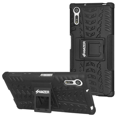 AMZER Shockproof Warrior Hybrid Case for Sony Xperia XZ- Black/Black