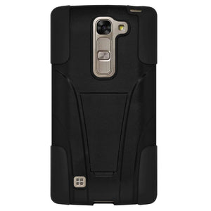 AMZER Double Layer Hybrid KickStand Case - Black/ Black for LG Magna H502F