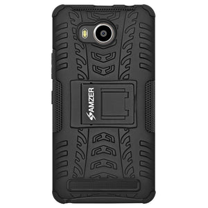 AMZER Shockproof Warrior Hybrid Case for Lenovo A7700 - Black/Black