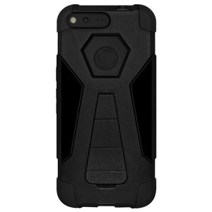 AMZER Dual Layer Hybrid KickStand Case - Black/ Black for Google Pixel XL