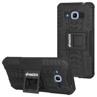 AMZER Warrior Hybrid Case for Samsung Galaxy Grand Prime Plus - Black/Black