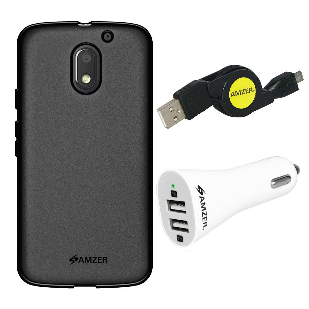Combo Pack 1 Black TPU, 1 Micro USB Cable, 1 Dual USB Car Charger for Motorola Moto E 3rd Gen