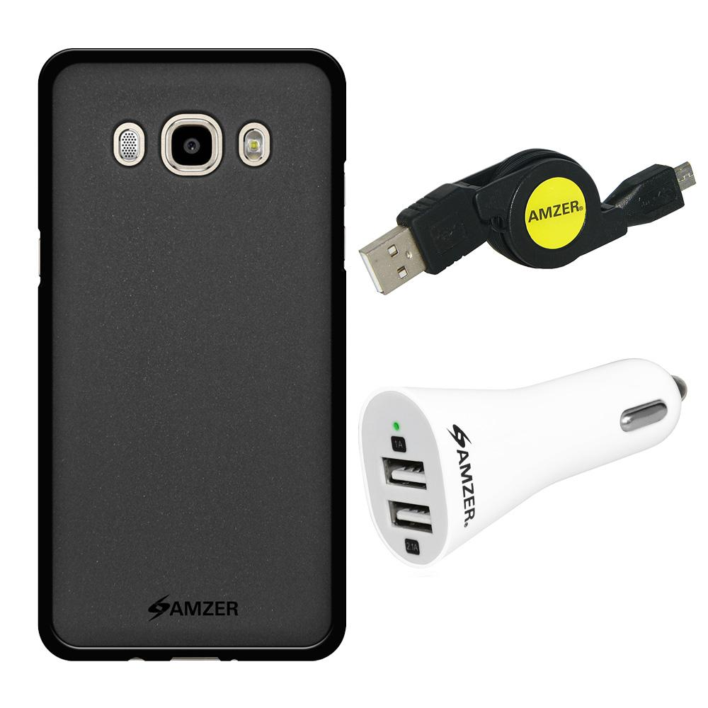 Combo Pack 1 Black TPU, 1 Micro USB Cable, 1 Dual USB Car Charger for Samsung Galaxy J5 2016 SM-J510F