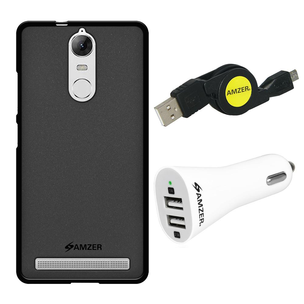 Combo Pack 1 Black TPU, 1 Micro USB Cable, 1 Dual USB Car Charger for Lenovo K5 Note