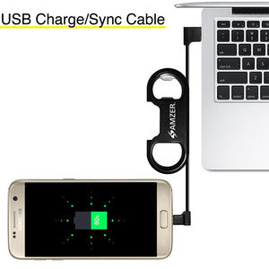 Amzer Charge and Sync MicroUSB Cable / Bottle Opener - Black