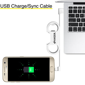 Amzer Charge and Sync MicroUSB Cable / Bottle Opener - White