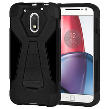 Load image into Gallery viewer, AMZER Dual Layer Hybrid KickStand Case - Black/ Black for Motorola Moto G4 Play XT1602
