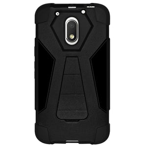 AMZER Dual Layer Hybrid KickStand Case - Black/ Black for Motorola Moto G4 Play XT1602