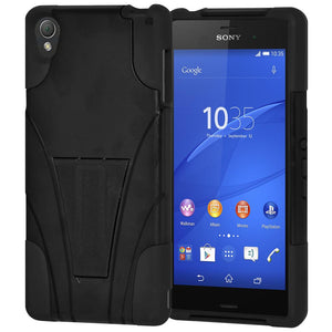 AMZER Double Layer Hybrid KickStand Case - Black/ Black for Sony Xperia Z3