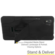 Load image into Gallery viewer, AMZER Double Layer Hybrid KickStand Case - Black/ Black for Sony Xperia Z3