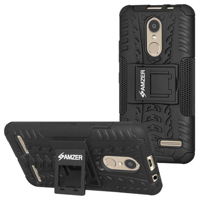 AMZER Hybrid Warrior Dual Layer Case With Kickstand for Lenovo K6 - Black/Black