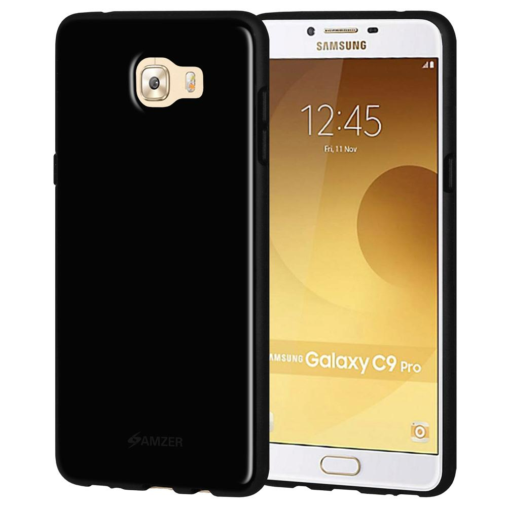 AMZER Shockproof Soft Gel Pudding TPU Skin Case for Samsung Galaxy C9 Pro Black