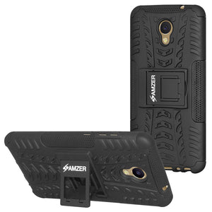AMZER Hybrid Warrior Dual Layer Case Kickstand for Meizu M5 Note - Black/Black