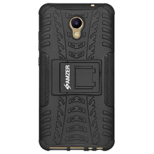 Load image into Gallery viewer, AMZER Hybrid Warrior Dual Layer Case Kickstand for Meizu M5 Note - Black/Black
