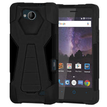Load image into Gallery viewer, AMZER® Dual Layer Hybrid KickStand Case - Black/ Black for ZTE Tempo