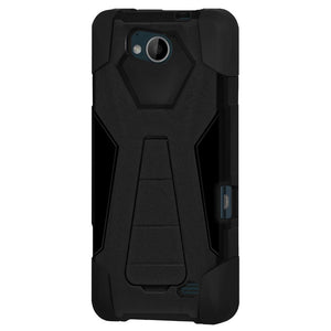 AMZER® Dual Layer Hybrid KickStand Case - Black/ Black for ZTE Tempo