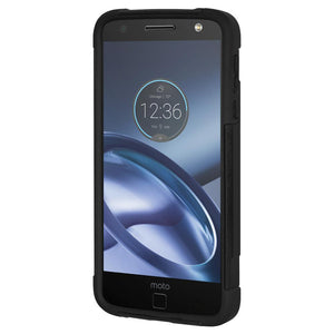 AMZER Dual Layer Hybrid KickStand Case - Black/ Black for Motorola Moto Z