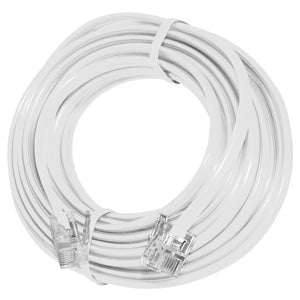 GE High Quality Telephone Line Cord Heavy Duty Lifetime Warranty 4 Conductor 15 Ft. - White - GB