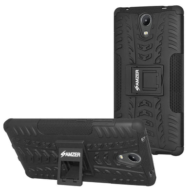 AMZER Shockproof Warrior Hybrid Case for Lenovo Phab 2 - Black/Black