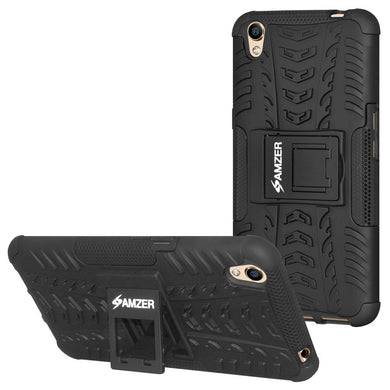 AMZER Shockproof Warrior Hybrid Case for Oppo A37 - Black/Black