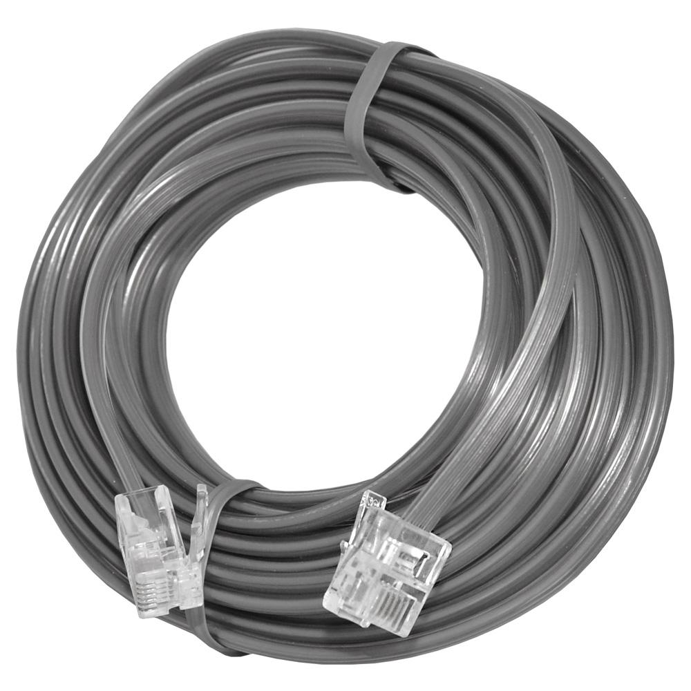 AMZER High Quality Telephone Line Cord Heavy Duty Lifetime Warranty 4 Conductor 25 Ft. - Satin Grey