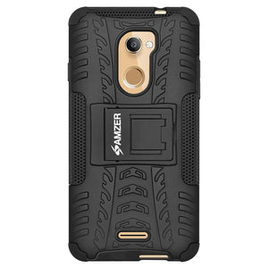 AMZER Shockproof Warrior Hybrid Case for Coolpad Note 3S - Black/Black