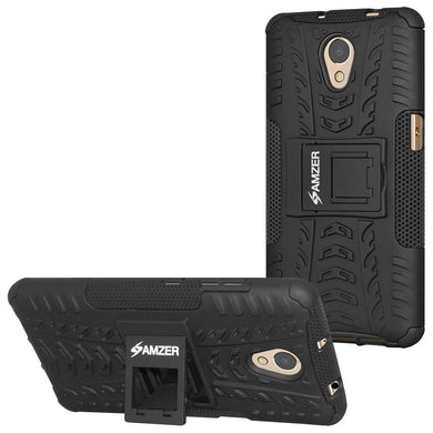AMZER Shockproof Warrior Hybrid Case for Lenovo P2 - Black/Black