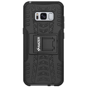AMZER Hybrid Warrior Case for Samsung Galaxy S8 - Black/Black