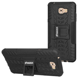 AMZER Shockproof Warrior Hybrid Case for Samsung Galaxy C9 Pro - Black/Black