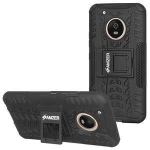 AMZER Shockproof Warrior Hybrid Case for Motorola Moto G5 Plus - Black/Black