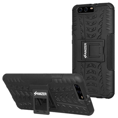 AMZER Shockproof Warrior Hybrid Case for Huawei P10 Plus - Black/Black