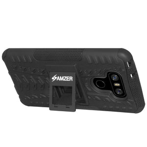 AMZER Shockproof Warrior Hybrid Case for LG G6 - Black/Black