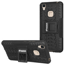 Load image into Gallery viewer, AMZER Shockproof Warrior Hybrid Case for Vivo V3 - Black/Black