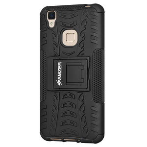 AMZER Shockproof Warrior Hybrid Case for Vivo V3 - Black/Black