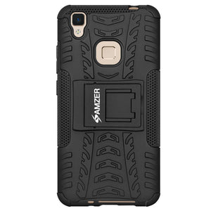 AMZER Shockproof Warrior Hybrid Case for Vivo V3Max - Black/Black