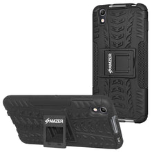 Load image into Gallery viewer, AMZER Shockproof Warrior Hybrid Case for Alcatel Idol 4 - Black/Black