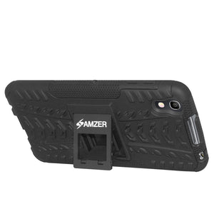 AMZER Shockproof Warrior Hybrid Case for Alcatel Idol 4 - Black/Black