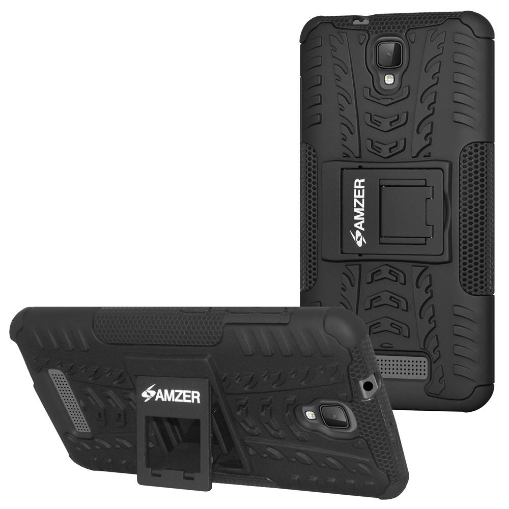 AMZER Shockproof Warrior Hybrid Case for ZTE Blade L5 - Black/Black