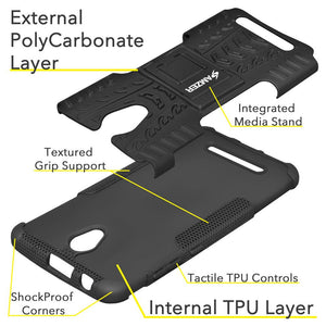 AMZER Shockproof Warrior Hybrid Case for ZTE Blade A110 - Black/Black