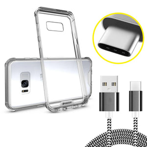 SlimGrip Shockproof Hybrid Case with Clear Trim with USB Type C Data Sync Braid Cable for Samsung Galaxy S8 Plus