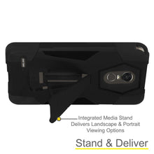 Load image into Gallery viewer, AMZER Dual Layer Hybrid KickStand Case - Black/ Black for LG K10 Pro LGM400DF