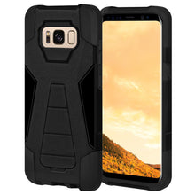 Load image into Gallery viewer, AMZER Dual Layer Hybrid KickStand Case - Black/ Black for Samsung Galaxy S8 Plus