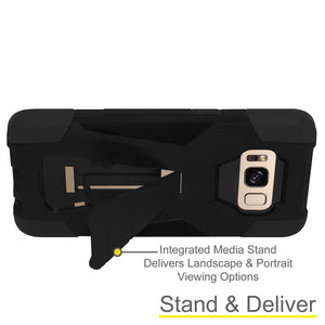 AMZER Dual Layer Hybrid KickStand Case - Black/ Black for Samsung Galaxy S8 Plus