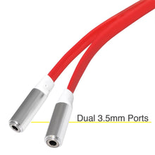 Load image into Gallery viewer, 3.5mm Male to Dual 3.5mm Female Audio Splitter Flat Cable - Red
