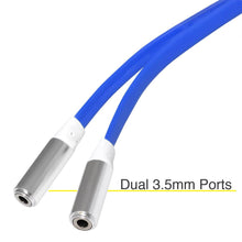 Load image into Gallery viewer, 3.5mm Male to Dual 3.5mm Female Audio Splitter Flat Cable - Blue